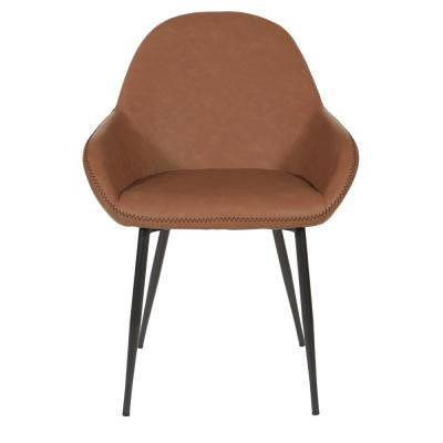 Piper Chair in Saddle with Dark Brown Trim and Black Frame