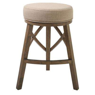 "Regal 30"" Bar Height Swivel Stool with Cream Fabric"