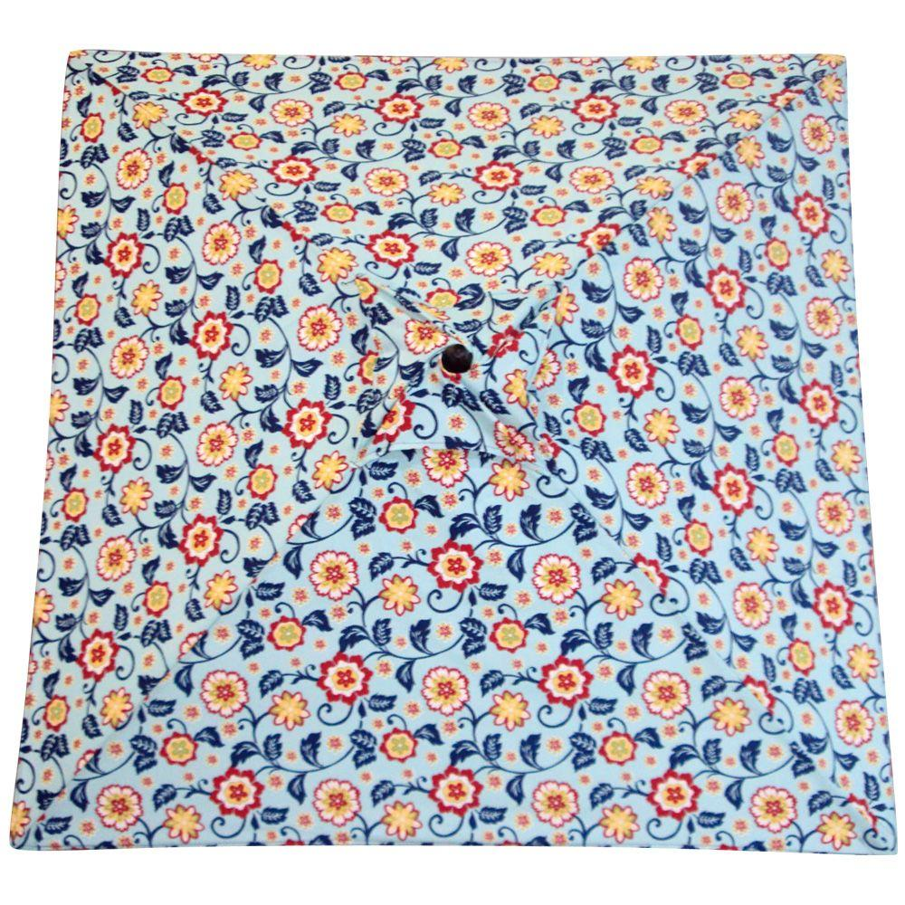 Plantation Patterns 6 ft. Patio Umbrella in Beach Floral Blue