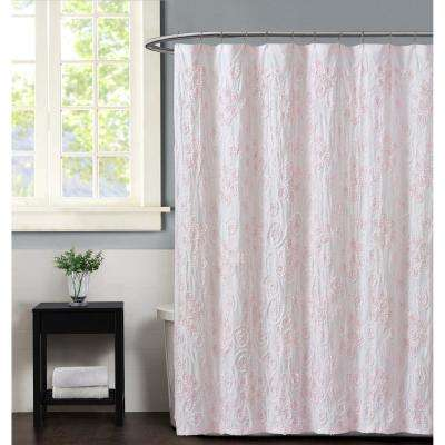 Pretty Petals 72 in. Pink Shower Curtain