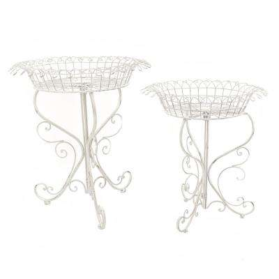 Antique White Iron Round Plant Stands (Set of 2)