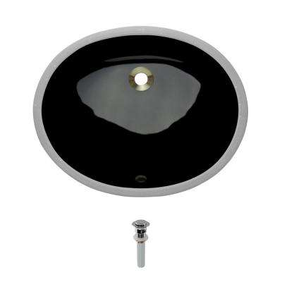Undermount Porcelain Bathroom Sink in Black with Pop-Up Drain in Chrome