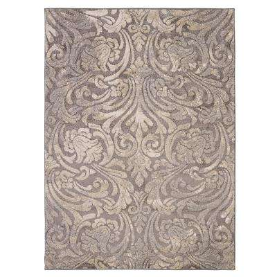 Urban Collection Contemporary Sculpted Effect Damask Dark Grey 5 ft. x 7 ft. Indoor Area Rug