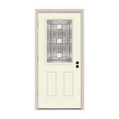 32 in. x 80 in. 1/2 Lite Cordova Vanilla Painted Steel Prehung Right-Hand Outswing Front Door w/Brickmould