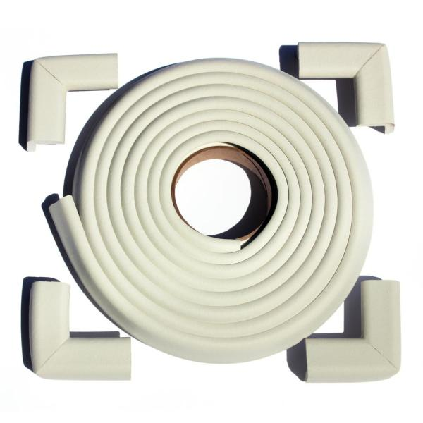 12 ft. Edge and Corner Safety Cushion Roll Plus Corners in Ivory (4-Pack)