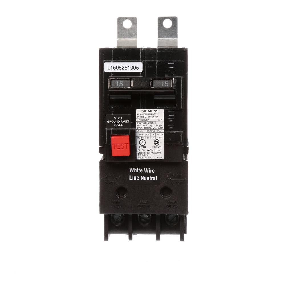Siemens 50 Amp Double Pole Type QE Ground Fault Equipment Protection ...