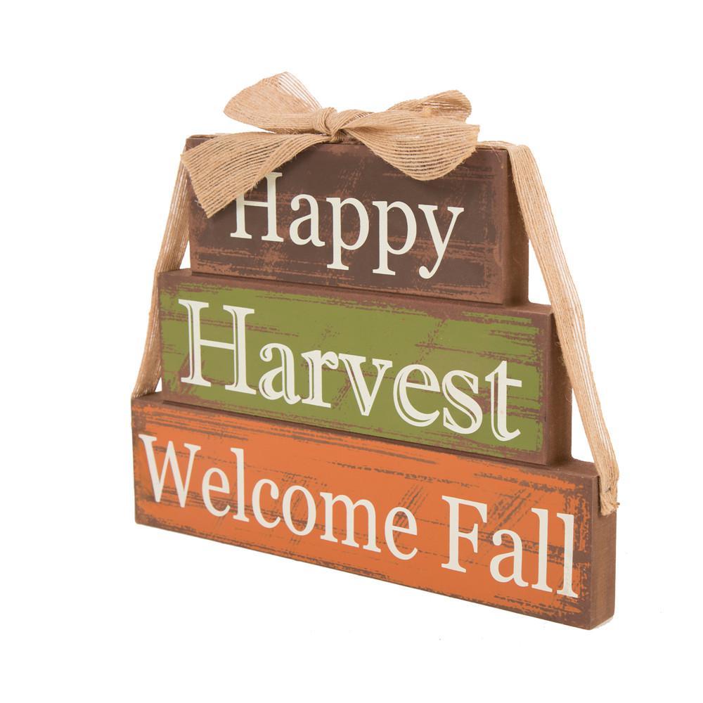10 in. H Wooden Happy Harvest Block Decor