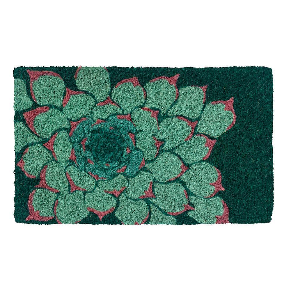 Succulent 30 in. x 18 in. Hand Woven Coconut Fiber Door Mat