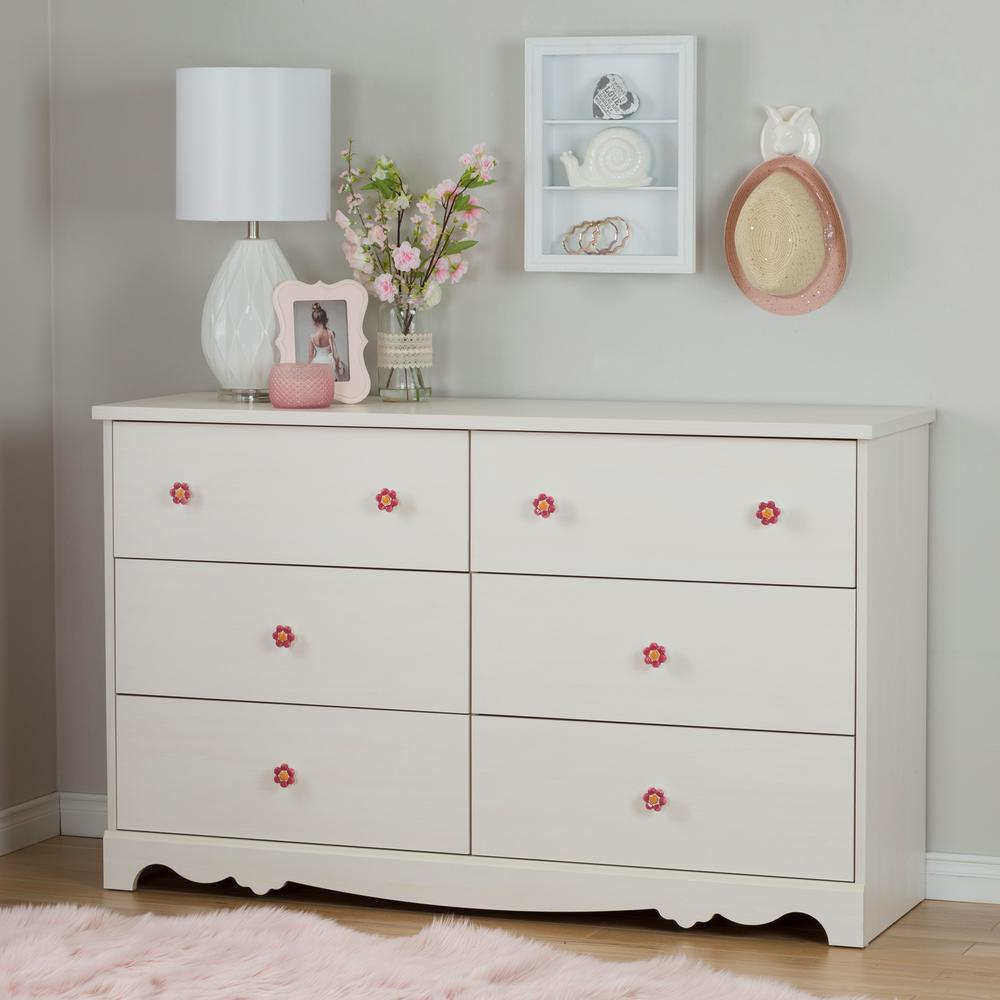 Lily Rose 6 Drawer White Wash Dresser