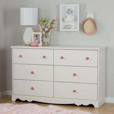 Lily Rose 6-Drawer White Wash Dresser