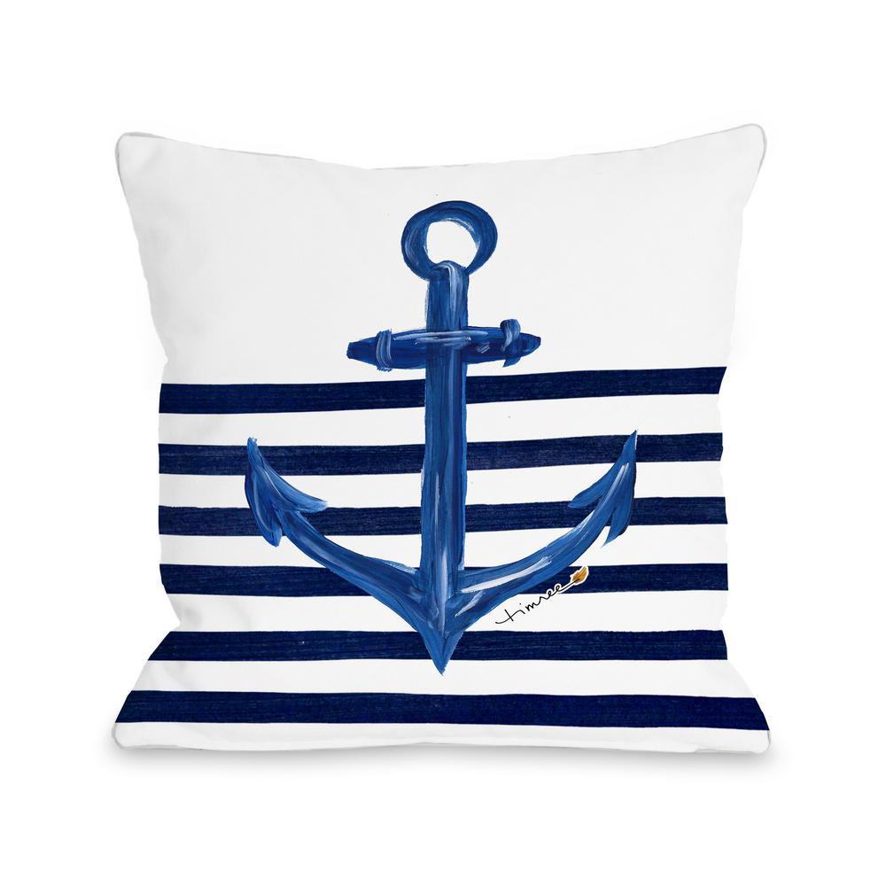 Anchor Half Stripe 16 in. x 16 in. Decorative Pillow 73693PL16