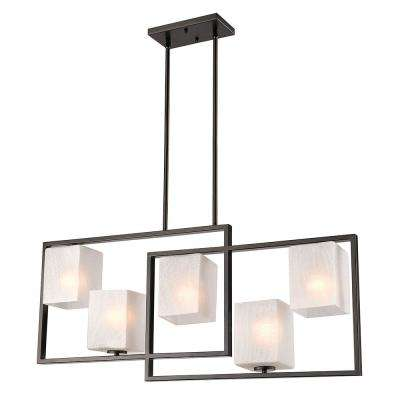 Wilmington 5-Light Oil Rubbed Bronze Chandelier with Cracked Glass