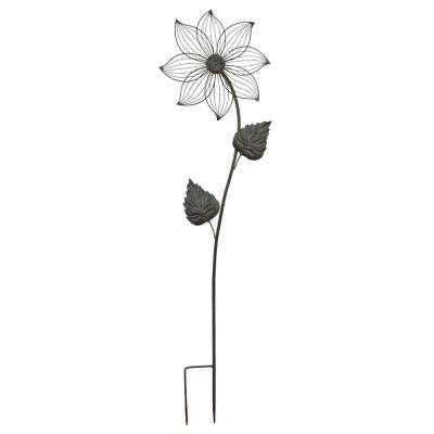 35 in. Sage Green Daisy Metal Garden Stake