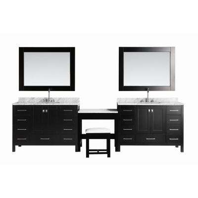 Two London 48 in. W x 22 in. D Vanity in Espresso with Marble Vanity Top in Carrara White, Mirror with Makeup Table