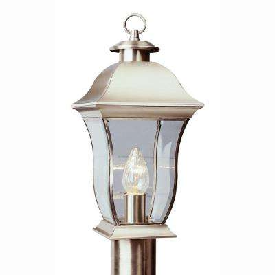 Wall Flower 1-Light Outdoor Brushed Nickel Post Top Lantern with Clear Glass