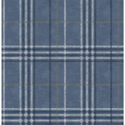 56.4 sq. ft. Rockefeller Navy Plaid Wallpaper