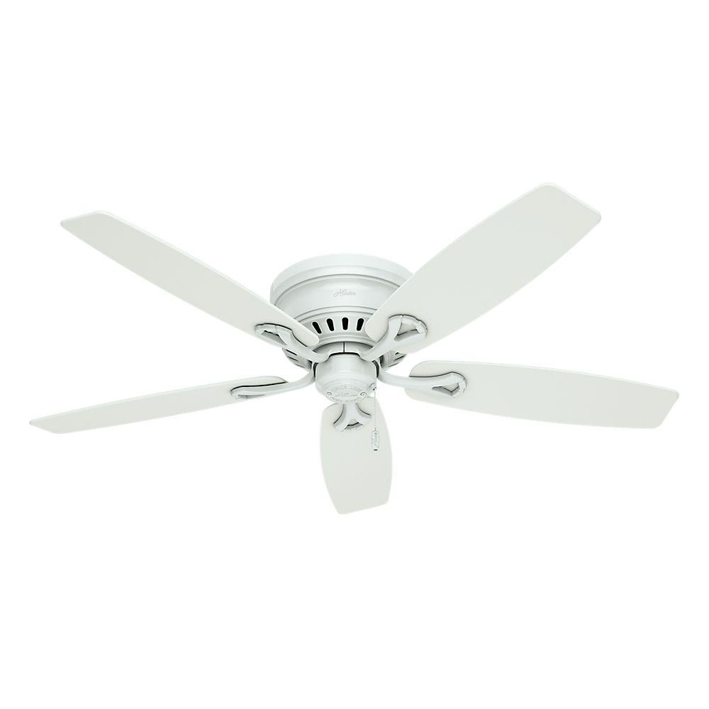 Hunter Oakhurst 52 In Indoor Low Profile White Ceiling Fan With Light 52012 The Home Depot