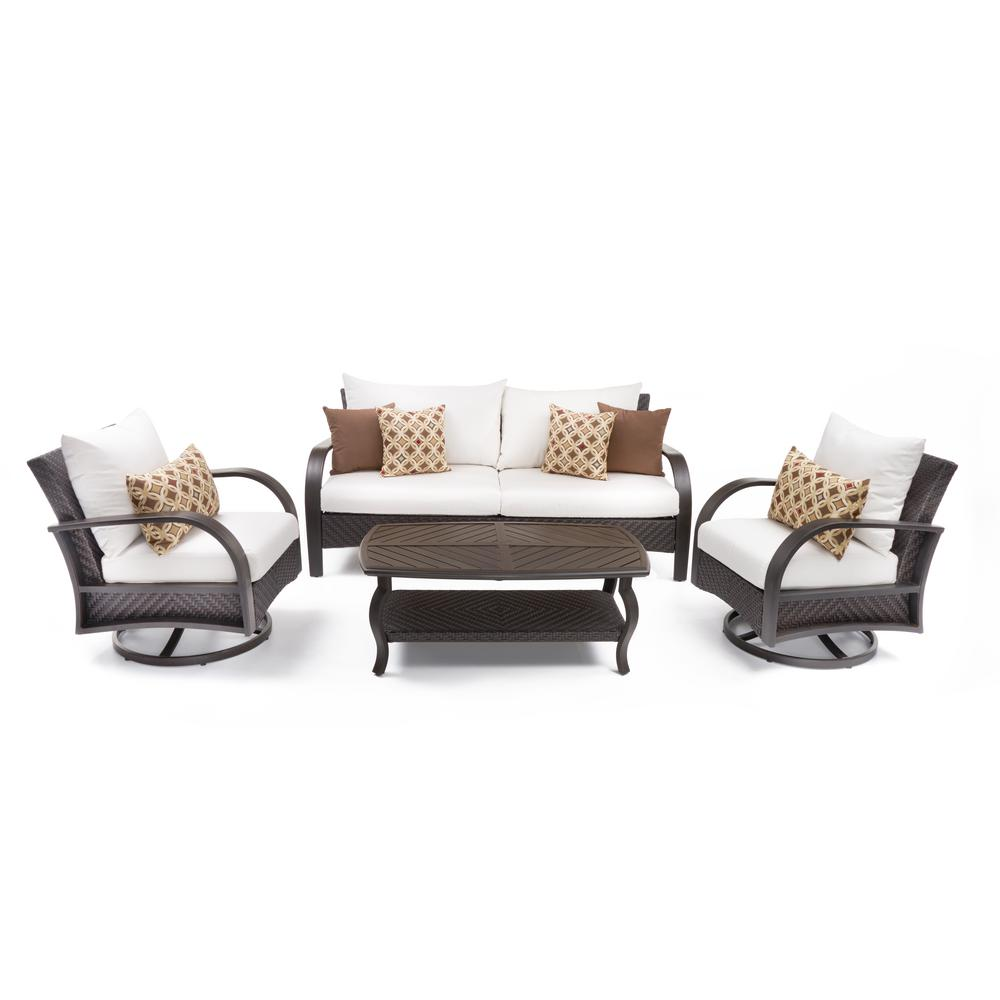 RST Brands Barcelo 4-Piece Motion Wicker Patio Deep Seating Conversation Set with Sunbrella Moroccan Cream Cushions