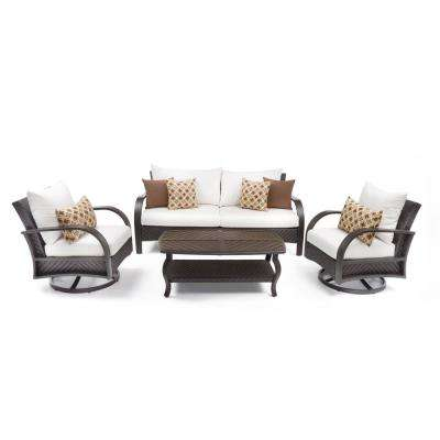 Barcelo 4-Piece Motion Wicker Patio Deep Seating Conversation Set with Sunbrella Moroccan Cream Cushions