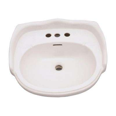 Aberdeen 21-7/8 in. Petite Pedestal Lavatory Basin Only for 4 in. Centerset Faucet in Bisque