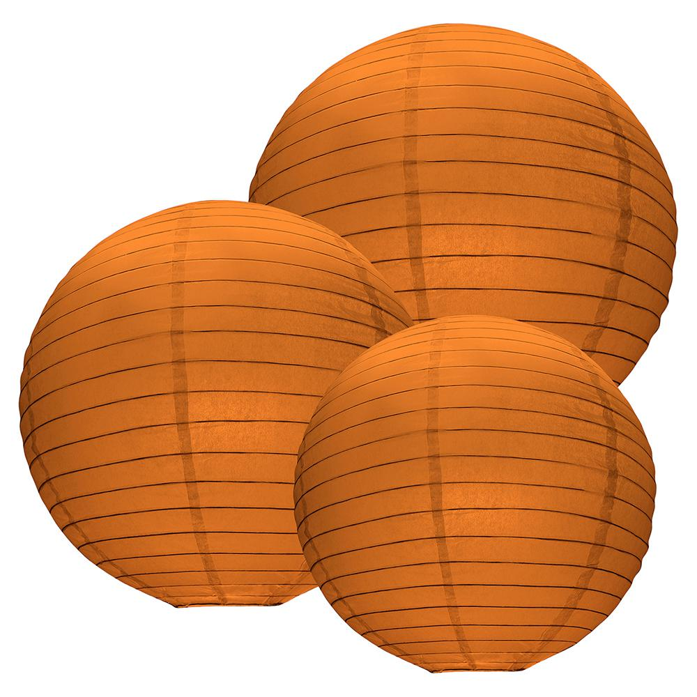 Lumabase Multi Size Sun Flower Orange Paper Lanterns 6 Count 72206 The Home Depot