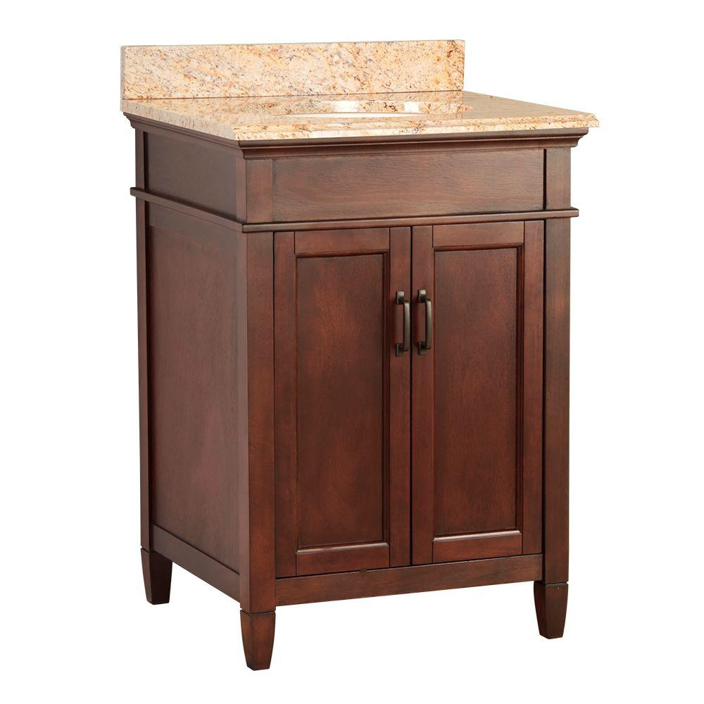 null Ashburn 25 in. W x 22 in. D Vanity in Mahogany with Vanity Top and Stone Effects in Tuscan Sun