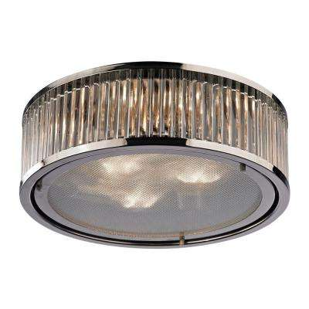 Munsey Park Collection 3-Light Polished Nickel Flushmount