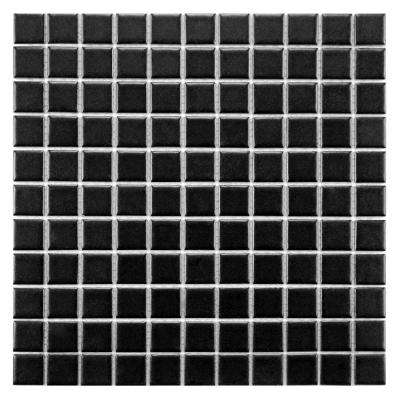 Metro Square Matte Black 11-3/4 in. x 11-3/4 in. x 5 mm Porcelain Mosaic Tile (9.8 sq. ft. / case)