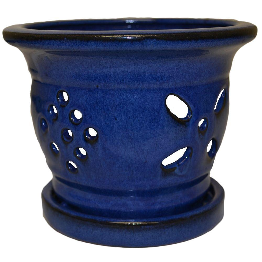 5 in. Round Blue Glazed Ceramic Orchid Pot