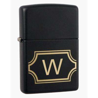 "Black Matte Lighter with Initial ""W"""
