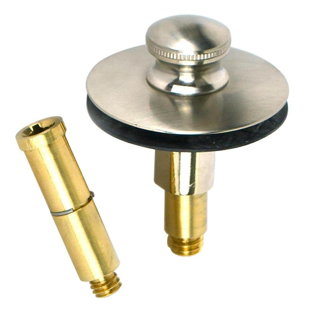 Watco Push Pull Bathtub Stopper with 3/8 in. to 5/16 in. Pin Adapter, Brushed Nickel