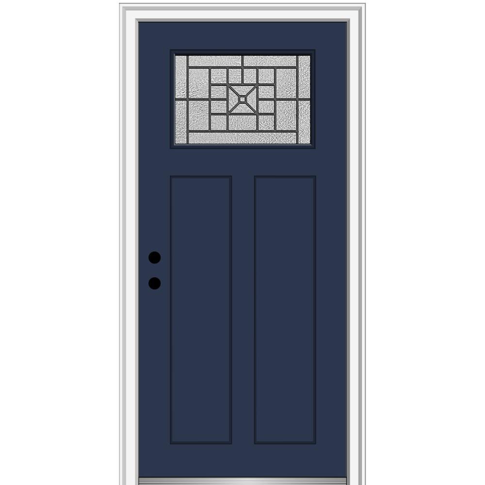 32 in. x 80 in. Courtyard Right-Hand 1-Lite Decorative Craftsman Painted Fiberglass Prehung Front Door, 4-9/16 in. Frame