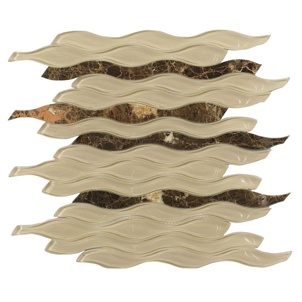 Flow Python Polished Glass and Marble Mosaic Wall Tile - 3