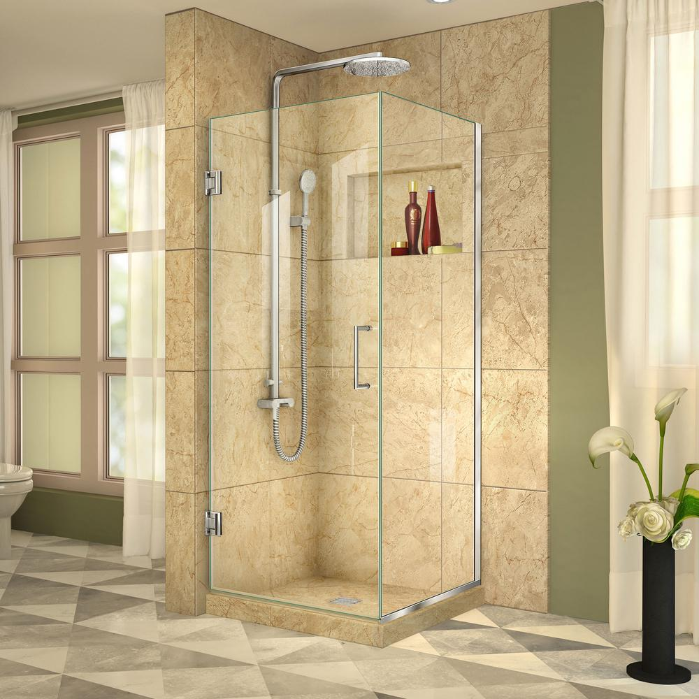 Unidoor Plus 30-3/8 in. x 72 in. Frameless Corner Pivot Shower