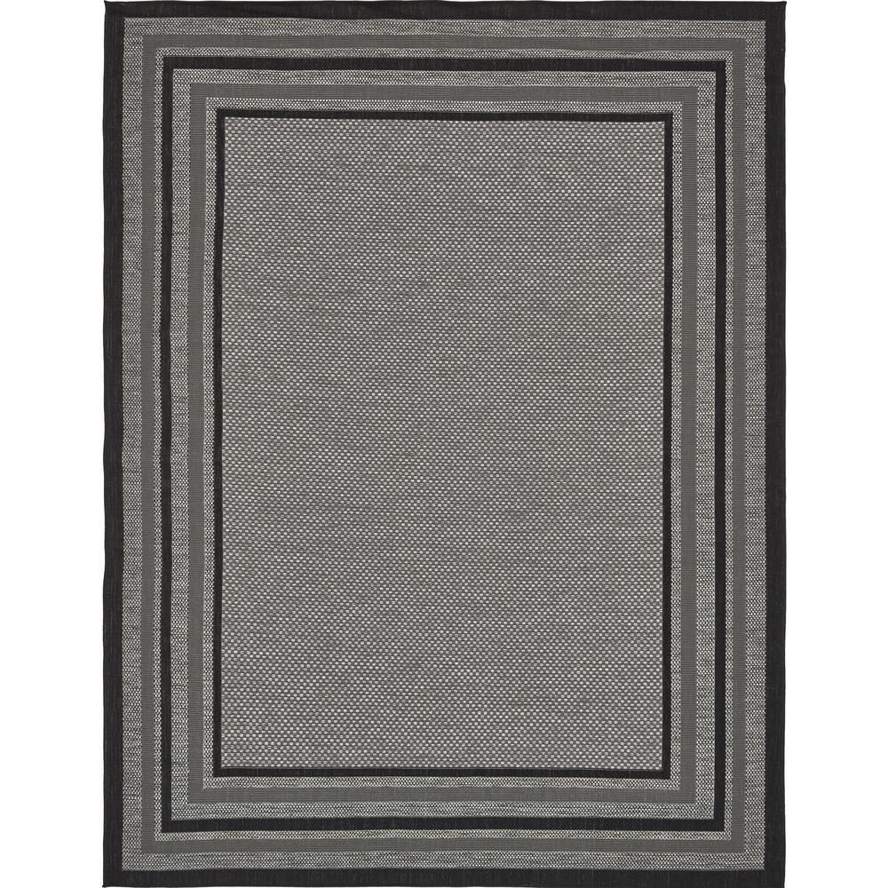 Outdoor Multi Border Gray 9' 0 x 12' 0 Area Rug
