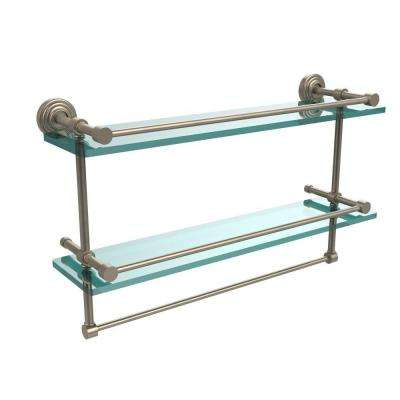 22 in. L  x 12 in. H  x 5 in. W 2-Tier Gallery Clear Glass Bathroom Shelf with Towel Bar in Antique Pewter