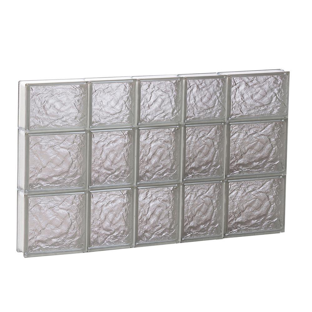 32.75 in. x 21.25 in. x 3.125 in. Frameless Ice Pattern Non-Vented Glass Block Window