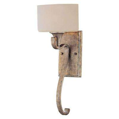 1-Light Gold Dust Sconce with Cream Opal Etched Glass