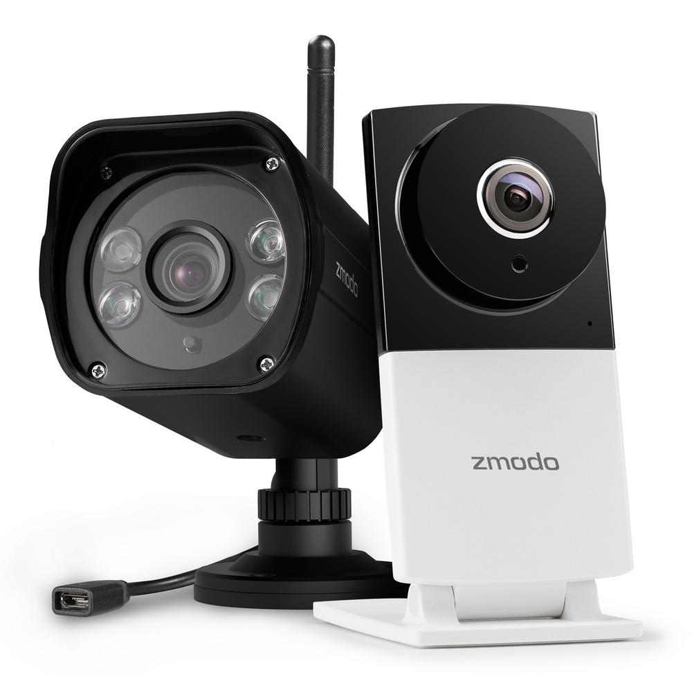 Zmodo Sight 180C 1080p Wireless 180-Degree Indoor Camera with 1080p  Wireless Outdoor Dual Band Surveillance Camera