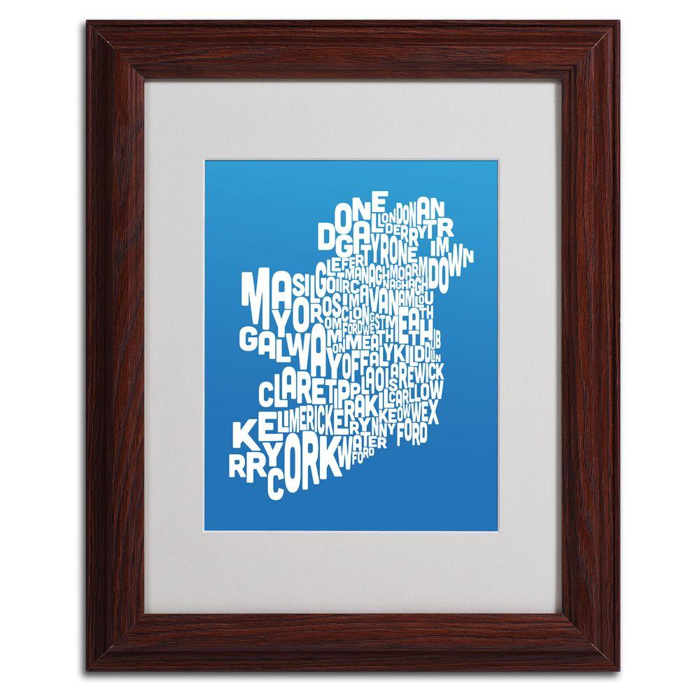 null 11 in. x 14 in. Ireland Text Map - Summer Matted Framed Art