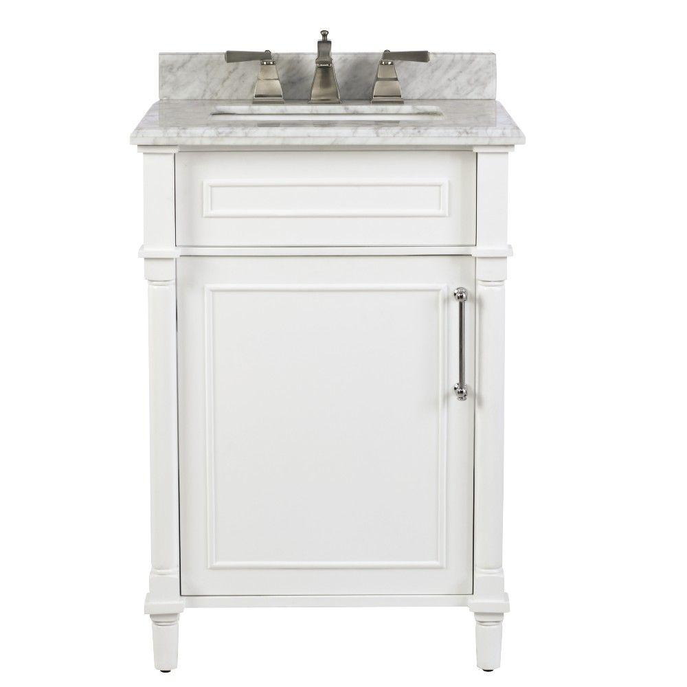 home decorators collection aberdeen 24 in w x 20 in d bath vanity in white with natural marble vanity top in white 8103200410 the home depot - Bathroom Sink Cabinets Home Depot
