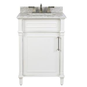 Aberdeen 24 in. W x 20 in. D Bath Vanity in White with Carrara Marble Top with White Sink