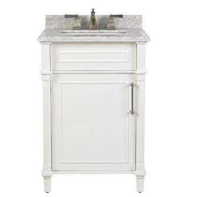 Aberdeen 24 in. W x 20 in. D Bath Vanity in White with Natural Marble Vanity Top in White