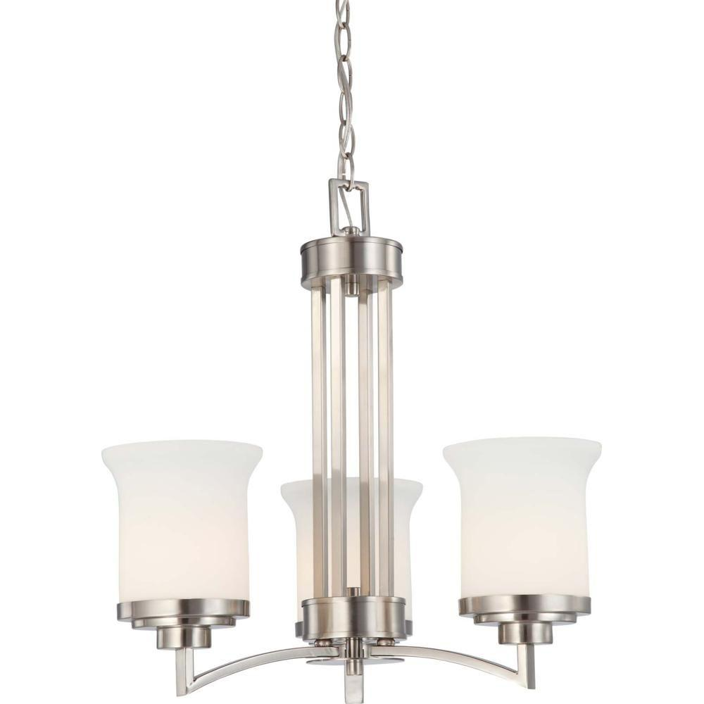 Glomar 3-Light Brushed Nickel Chandelier with Satin White Glass Shade