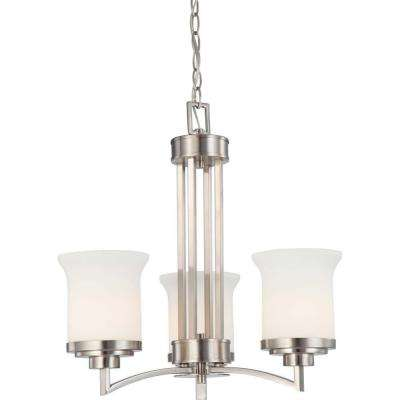 3-Light Brushed Nickel Chandelier with Satin White Glass Shade
