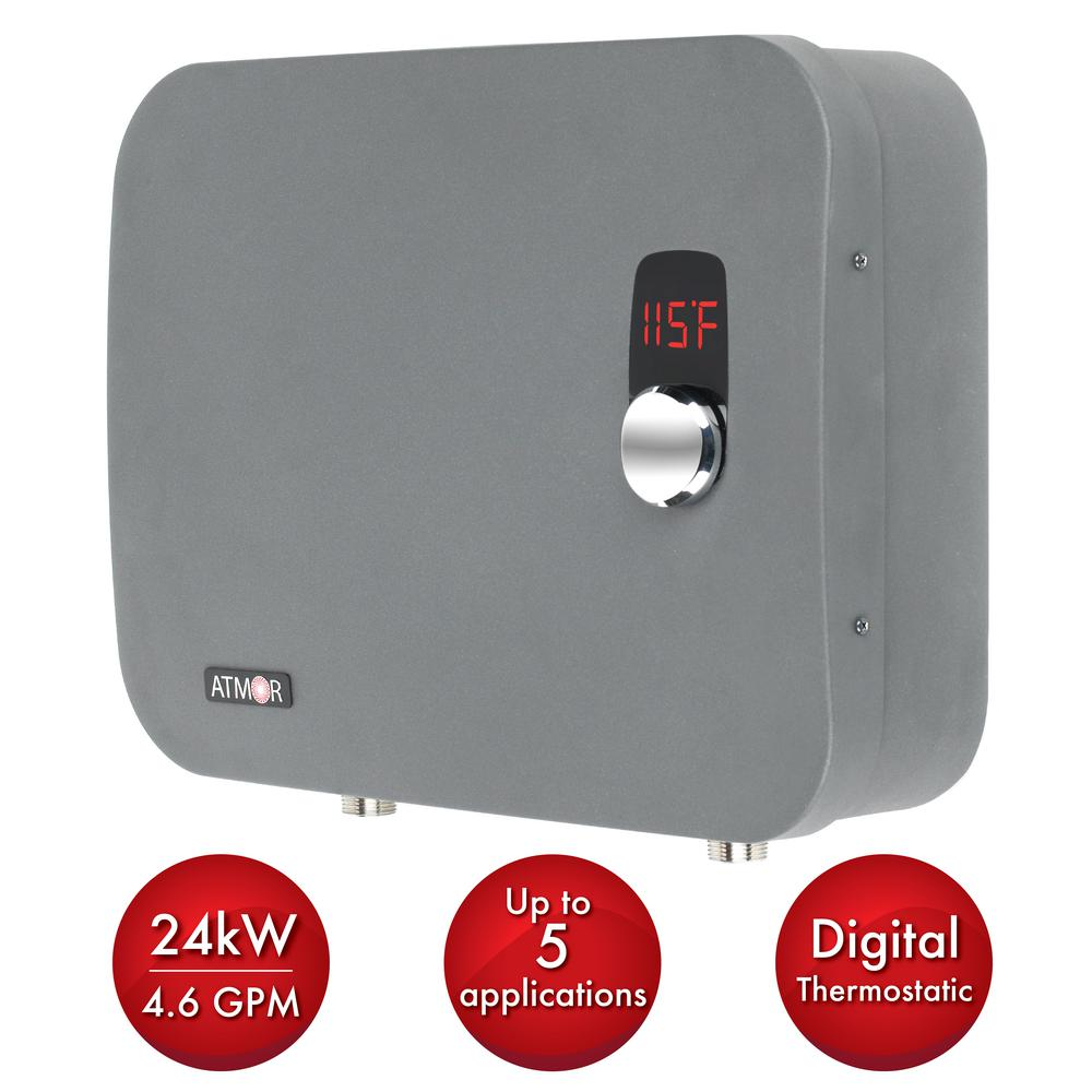 ATMOR ThermoPro 24 kW / 240-Volt 4.6 GPM Stainless Steel Electric Tankless  Water Heater with Self-Modulating Technology-AT-910-24TP - The Home Depot