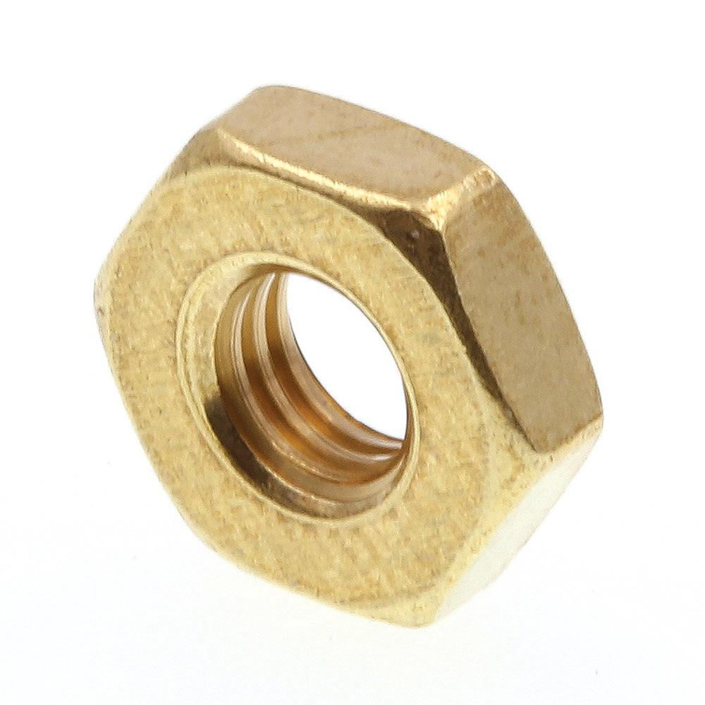 Prime-Line #10-32 Solid Brass Machine Screw Hex Nuts (100-Pack)