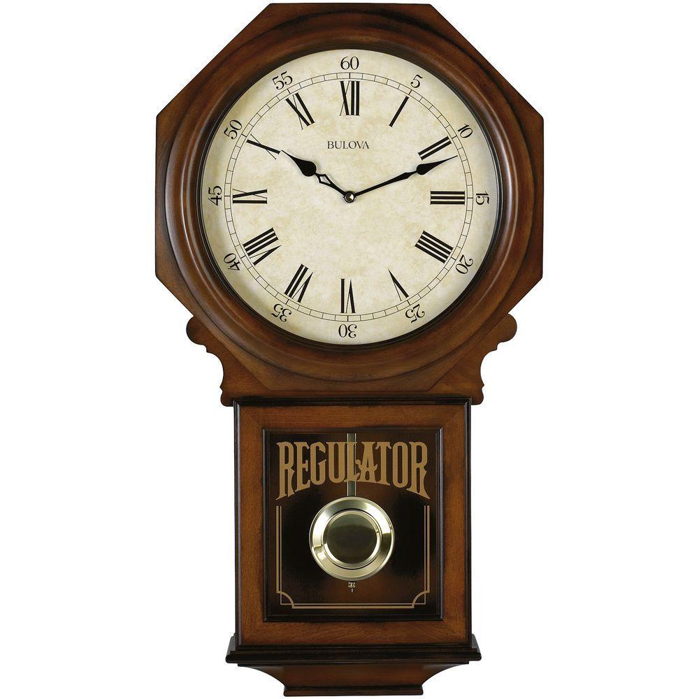 25 in. H x 13.75 in. W Pendulum Chime Wall Clock