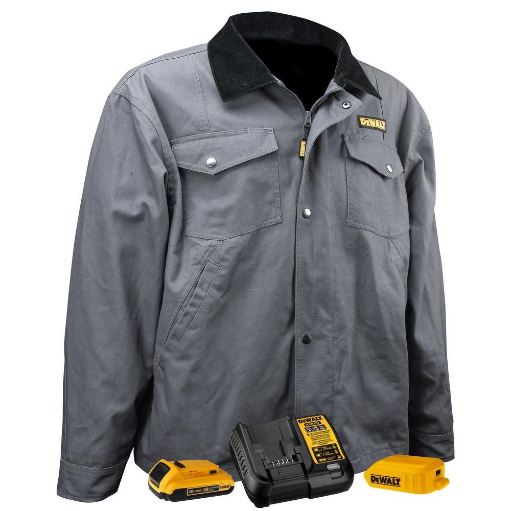DEWALT Unisex 3X-Large Charcoal Duck Fabric Heated Barn Coat with 20-Volt/2.0 Amp Battery and Charger