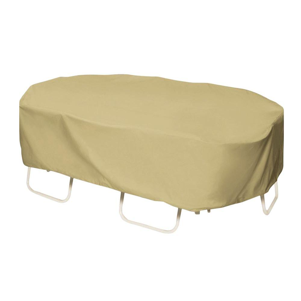 Khaki Oval/Rectangular Patio Table Set Cover